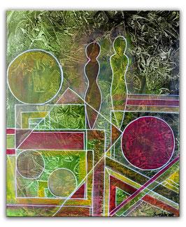 Abstrakte Malerei Figuren 50x60 Unikat Kunstbild