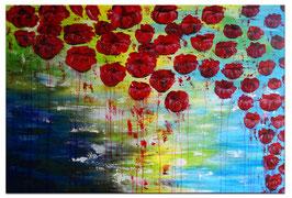 Wasserblüten Blumen Malerei abstrakt 120x80