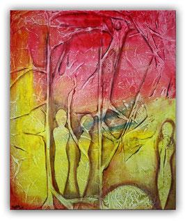 Figuren im Wald - Malerei rot gelb 50x60cm