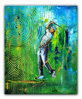 Golfspieler 161 - Golfer Gemälde - Abschlag