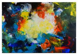 Galaktischer Nebel abstrakt gemalt FluidArt 116x81