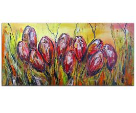 Tulpen Blumen 100x50 Wandbild Acrylbild Künstler