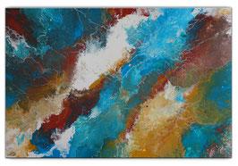 Delta abstraktes Leinwandbild Wandbild blau 100x65