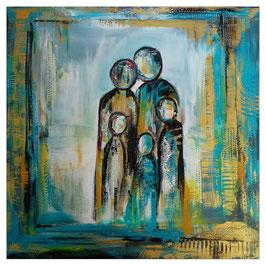 Familie 5er petrol gold abstrakte Malerei 100x100