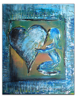 198 Herz Gemälde blau Struktur mit Figur 40x50