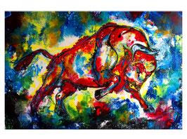 Islero Wandbild Wilder Stier XXL Acrylgemälde 150x100