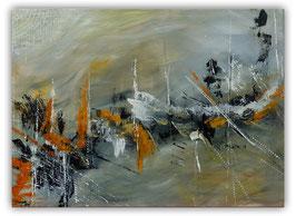 Schiffsbruch abstraktes Original Gemälde grau 70x50