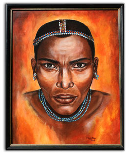 Barabaig Portrait Bild Massai Afrika Gemälde 80x100 Acryl Malerei