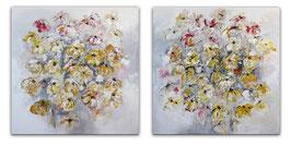 Zweiteiliges Blumenbild abstrakt XXL 240x120
