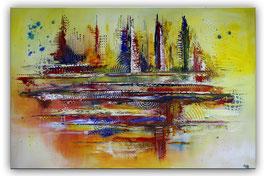 Timbuktu XXL Wandbild abstrakt gelb 100x150