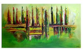 Im Park abstraktes Bild grün rot Modern  140x80