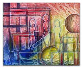 Planeten Wanderung, abstraktes Gemaelde 50x60