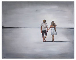 Mann Frau am Strand 80x100 Liebespaar Gemälde