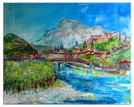 Salzburg 100x80 Altstadt Festung abstrakt gemalt