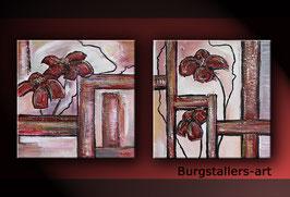 Sonnenhut Blumen Bild Gemälde 40x80 Malerei zweiteilig