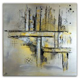 Silber Gold abstrakt - 100x100 Malerei Bild Gemälde