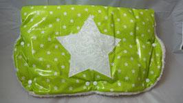Kinderwagen-Muff Sterne h.grün/weiss