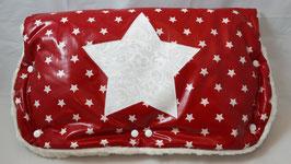 Kinderwagen-Muff Sterne rot/weiss