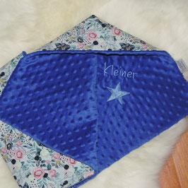 Baby Decke Blütenwunder weiß/grau meliert - dunkelblau mit Stick