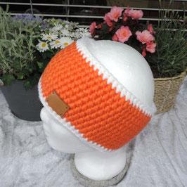 Woll-Stirnband orange-weiß