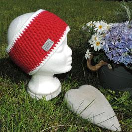 Woll-Stirnband rot-weiß