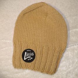 Long Beanie hellbraun Lässig Patch