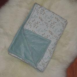 Baby Decke Weidekätzchen cremeweiß - türkis