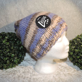 Long Beanie lila beige Lässig Patch