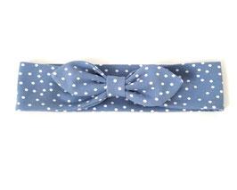 Stirnband in blau mit Pünktchen