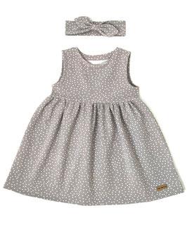 Sommerkleidchen ärmellos in grau mit Pünktchen