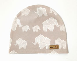 Graue Mütze mit Elefanten