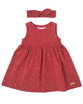 Sommerkleidchen ärmellos in rot mit Pünktchen