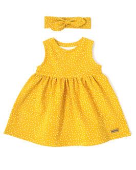 Žlté bodkové šatočky bez rukávov