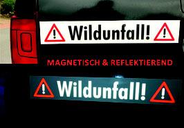 """Magnetschild mit reflektierender Schrift """"Wildunfall!"""" oder """"Achtung Jagd!"""""""