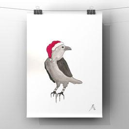 Christmas Bird - Aquarell - 24x32 cm