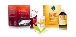 Darmsanierung, h-sun+ Clean I und 2 und h-one+, Aronia-Granatapfelsaft mit Kräutern