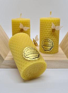 handgedrehte Kerze aus echtem Bienenwachs