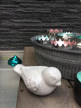 Vogel Keramik Grau