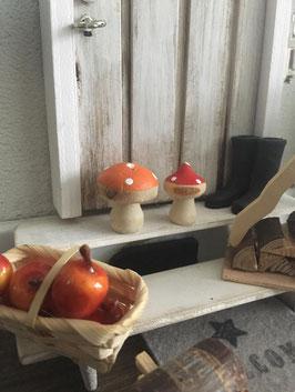 Wichtel Zubehör Holz Pilzli Rot/orange