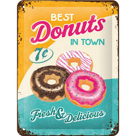 Placa Metall. BEST DONUTS. 15x20 cm.  Nostalgic-Art