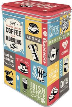 Capsa Metall Tancament hermètic. MORNING COFFEE 11 x 8 x 18 cm.  Nostalgic-Art