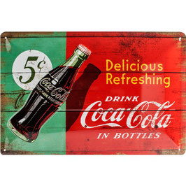 Placa Metall. DELICIOUS REFRESHING. 20x30 cm.  Nostalgic-Art