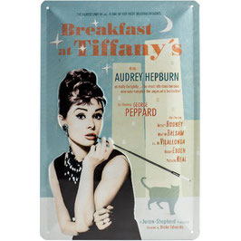 Placa Metall. BREAKFAST AT TIFFANYS. 20x30 cm.  Nostalgic-Art