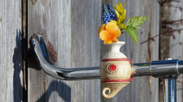 Die FahrradVase, Modell Nr. 1 'natur / rote Sonne'