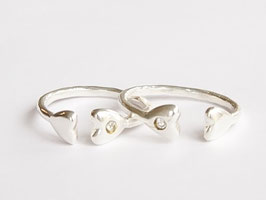 TWO HEARTS Ring Silber