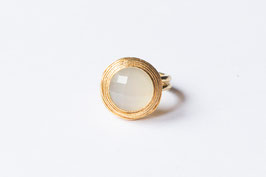 VINTAGE DOT Weisser Chalcedon Ring