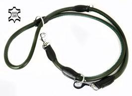 Hunde Leder Leine aus weichem Rindsleder - hochwertig gepolstert in grün - Doppelleine - Führleine - Premium Qualität