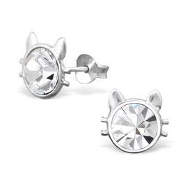 925 Silber Katzen Ohrringe mit 2 funkelden Kristallen und Barthaaren