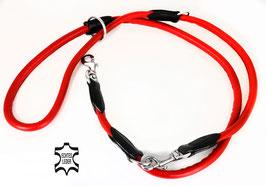 Hunde Leder Leine aus weichem Rindsleder - hochwertig gepolstert in rot - Doppelleine - Führleine - Premium Qualität