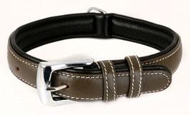 Hunde Leder Halsband aus weichem Rindsleder - gepolstert in braun - für mittelgroße Hunde 25mm x 50cm - Premium Qualität